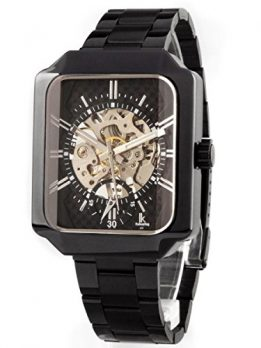schwarze mechanische armbanduhr   schwarz metall armbanduhr