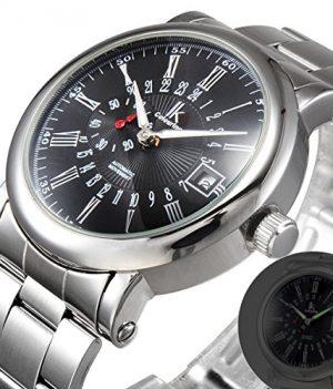 mechanische Armbanduhr   armbanduhr schwarz silber mechanisch   silber metall armbanduhr   elegante armbanduhr