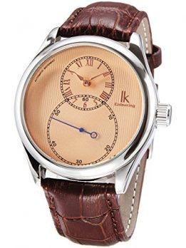 armbanduhr rose-gold-braunLeder   mechanische Armbanduhr leder