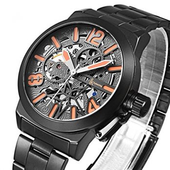 mechanische armbanduhr   schwarz metall armbanduhr