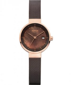 solaruhr | armbanduhr mit solarfunktion | braun goldenfarbige armbanduhr