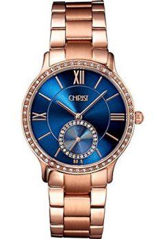 Christ Uhr | Damenuhr Christ | Damenuhr mit blauem Ziffernblatt | rosé Uhr damen
