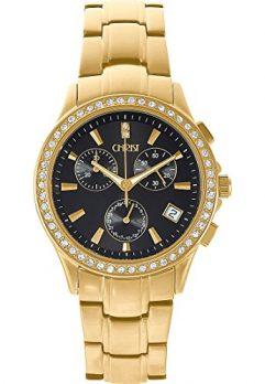 Christ Uhr | Damenuhr gold-schwarz | Damenarmbanduh rmit schwarzem Ziffernblatt