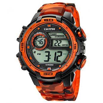 Calypso Uhren | Herrenuhr schwarz orange | Herren Sport digital Armbanduhr