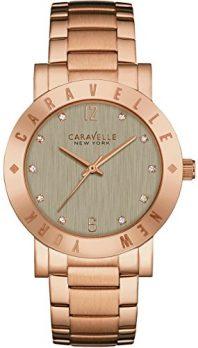 Caravelle New York Uhren   Armbanduhr mit grauen Ziffernblatt   damenuhr rose-grau-gold