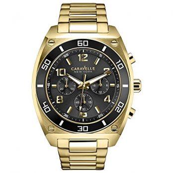Caravelle New York Uhren   Herrnuhr   armbanduhr mit schwarzem ziffernblatt