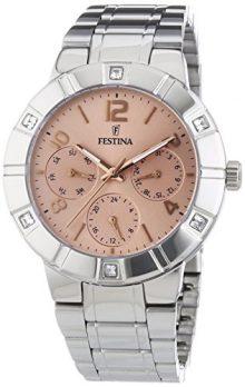 Festina Uhr | Damenuhr Festina | Damenuhr Edelstahl | Armbanduhr mit rose Ziffernblatt