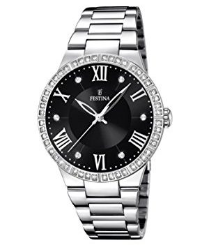 Festina Uhr | Damenuhr Festina | Damenuhr edelstahl | Armbanduhr mit schwarzem Ziffernblatt