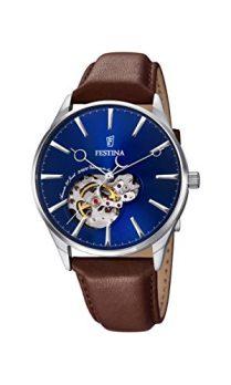 Festina Uhr | Herrenuhr Festina | Leder Uhr Herren | Herrenuhr mit Braunem Lederband | Armbanduhr mit blauem Ziffernblatt