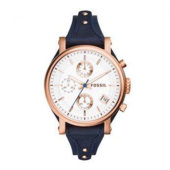 Fossil Uhr | Damenuhr Fossil | Damenuhr mit Blauem Armband | Lederarmbanduhr Damen Blau