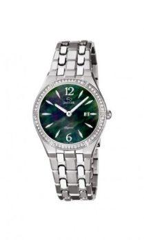 Jaguar Uhr   Damenarmbanduhr Jaguar   Silber Armbanduhr mit  schwarz -grün-perlmutt    elegante Armbanduhr