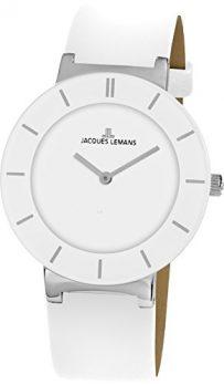 Jacques Lemans | Armbanduhr Damen | weiße Ledearmbanduhr damen