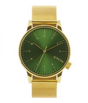 Uhr mit Milanaiseband | Goldene-grüne Armbanduhr Uhren mit Milanaiseband