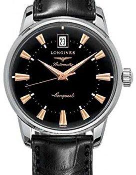 Longines Uhr   Armbanduhr Longines   Herrenuhr Longines   schwarze armbanduhr herren   schwarze lederarmbanduhr herren