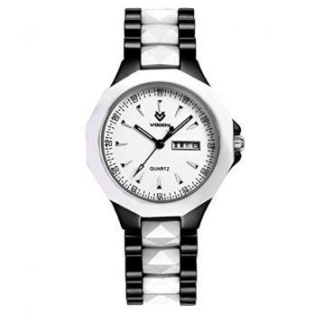 Keramikuhr damen | weiß-schwarze damen Armbanduhr