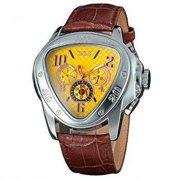 mechanische herren armbanduhr   armbadnuhr braun gelb