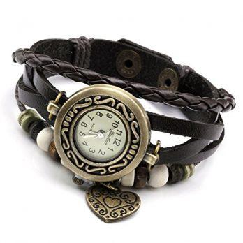 Armbadnuhr mit Lederarmband | Armbanduhr Damen | Winkelarmbanduhr Damen