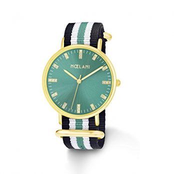 NoelaniUhr | Armbanduhr Noelani| Damenuhr Noelani | gestreifte Armbanduhr | Armbanduhr mit textilband | damenuhr mit textilband | grüne armbanduhr
