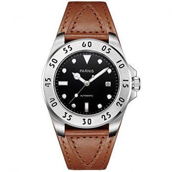 Parnis Uhren | Armbanduhr Parnis | Herrenuhr Parnis | Lederarmbanduhr Herren mit Datumanzeige | sportliche Herrenuhr