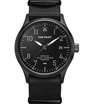 Pop-Pilot Uhr | Armbanduhr Pilgrim | Herrenuhr Pilgrim | Fliegeruhr schwarz | wasserfeste schwarze armbadnuuhr
