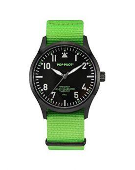 Pop-Pilot Uhr | Armbanduhr Pilgrim | grüne Armbanduhr | knallige Farbige Armbadnuhr | auffällige Armbanduhr | grüne armbanduhr mit nylon