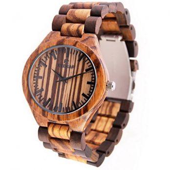 holz herren armbanduhr   braun holzuhr armbanduhr