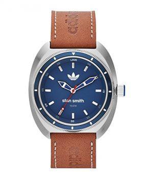 adidas armbanduhr | herrenuhr mit lederarmband | braun-blaue Uhr