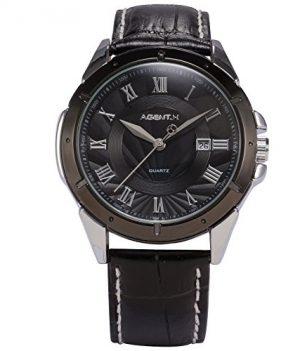herren armbanduhr | schwarze armbanduhr herren | quarzuhr schwarz | lederarmband herrenuhr | uhr mit datumanzeige