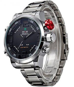 Alienwork DualTime | digitale armbanduhr | schwarz-silber edelstahl Uhr