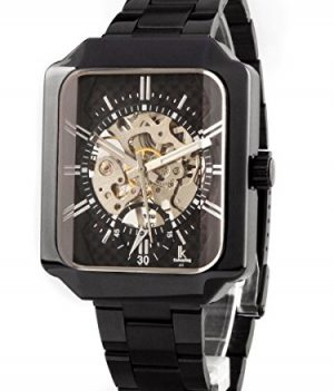 schwarze mechanische armbanduhr | schwarz metall armbanduhr