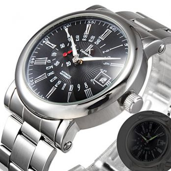 mechanische Armbanduhr | armbanduhr schwarz silber mechanisch | silber metall armbanduhr | elegante armbanduhr