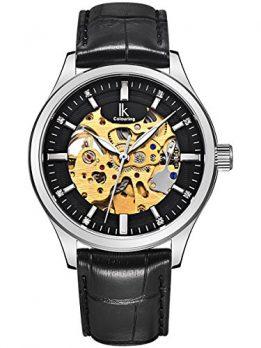 Alienwork IK Uhren | Automatikuhr schwarz leder | armbanduhr schwarz leder