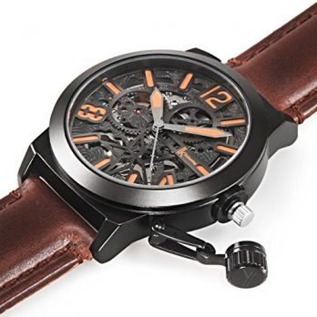 Automatik Armbanduhr | grau-braun Leder Armbanduhr | Leder Armbanduihr