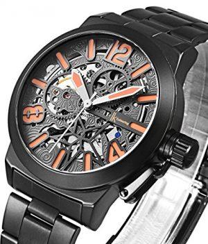 mechanische armbanduhr | schwarz metall armbanduhr