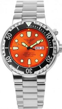 taucheruhr | armbanduhr für taucher | edelstahlband armbanduhr | orange armbanduhr