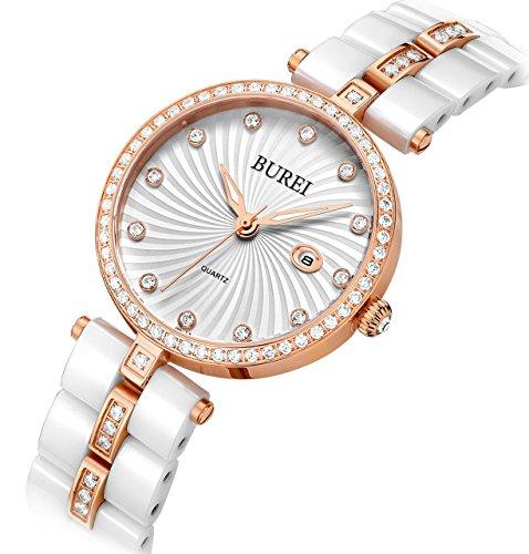 Damen armbanduhr keramik | keramik armbanduhr | goldfarbende Akzente Armbanduhr