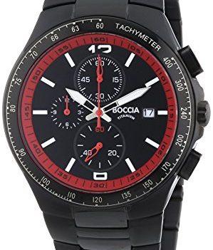 Herren armbanduhr | titanium chronographen uhr | rot-schwarze herren armbanduhr