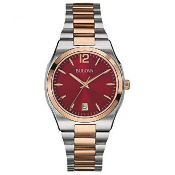 Bulova Uhr | Damenuhr edelstahl | Armbanduhr Damen mit rotem Ziffernblatt