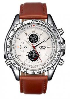 braune armbanduhr | herren armbanduhr mit lederarmband