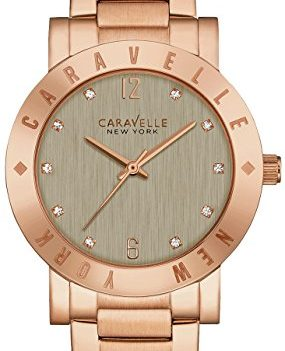 Caravelle New York Uhren | Armbanduhr mit grauen Ziffernblatt | damenuhr rose-grau-gold