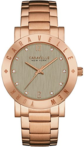 caravelle 44l203 new york damen armband edelstahl grau zifferblatt rose gold watch. Black Bedroom Furniture Sets. Home Design Ideas