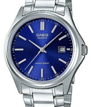 Casio Uhren | Herren Armbanduhr | Armbanduhr silber mit blauen Ziffernblatt