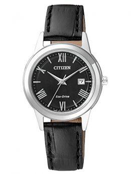 Citizen Uhr | Damen Armbanduhr schwarz Leder | schwarze Lederarmbanduhr Damen