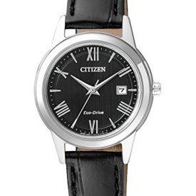 Citizen Uhr   Damen Armbanduhr schwarz Leder   schwarze Lederarmbanduhr Damen