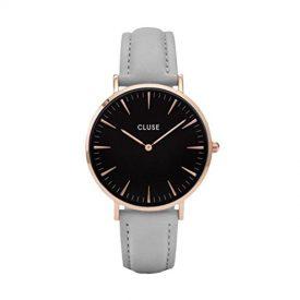 Cluse Uhr   Damenarmbanduhr grau schwarz  damenuhr grau