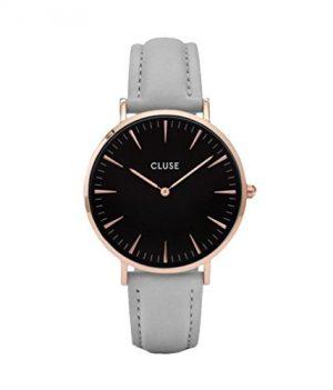 Cluse Uhr | Damenarmbanduhr grau schwarz| damenuhr grau