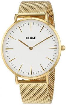 Cluse Uhr | Edelstahl armbanduhr mit weißem Ziffernblatt