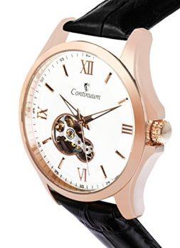 Automatik Armbanduhr | Leder Schwarz Armbanduhr