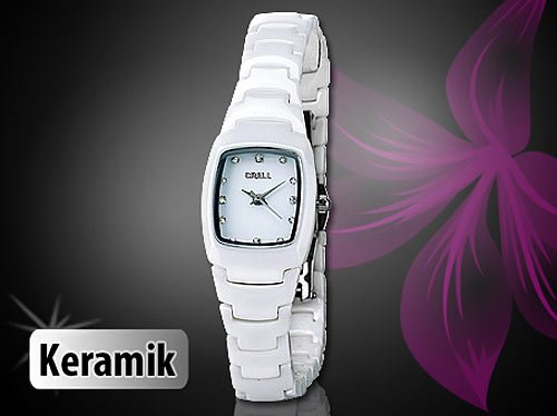 crell damenuhr mit hochwertigem keramik armband wei. Black Bedroom Furniture Sets. Home Design Ideas