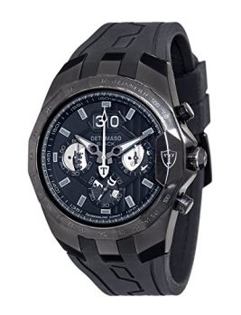 Detomaso Uhr | Herrenuhr Detomaso | Armbanduhr mit Silikonband schwarz | XXl Armbanduhr Herren | schwwarze Uhr